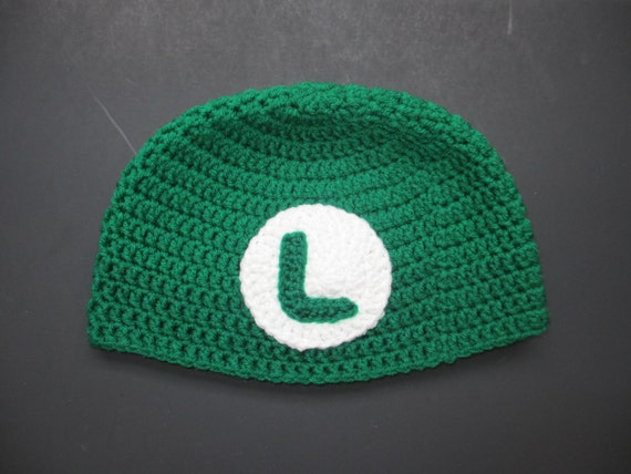 Crochet Pattern Mario Hat : Crocheted Luigi Hat