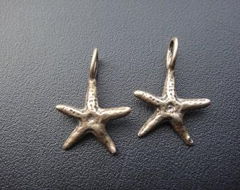2 pc. solid bronze starfish charm, bronze starfish, starfish