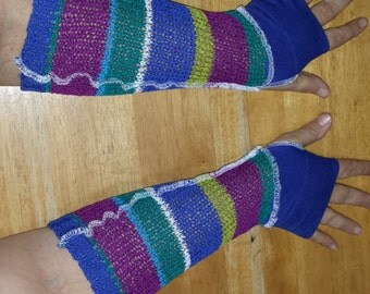 CUSTOM: OOAK Upcycled Fingerless Gauntlet Arm Warmers Any Color(s) Any Size
