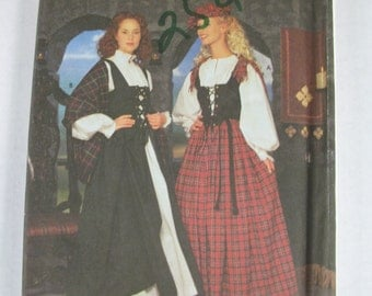 Simplicity Costume 8855 Misses Dress & Hat Historic Celtic Sizes 14-20 Plus Size