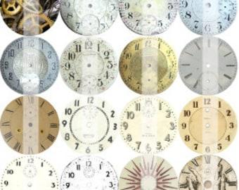 "32 - 1"" Round, Clock/Watch blanks Theme bottle cap stickers - INSTANT DOWNLOAD - 8.5x11"" pdf"