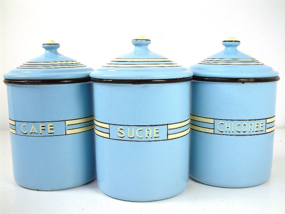 3 large french vintage art deco enamel kitchen canisters in