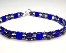 Blue bracelet, friendship bracelet, superduo bracelet, tile bead bracelet, skinny bracelet, beadwork bracelet, super duo bracelet, BR014