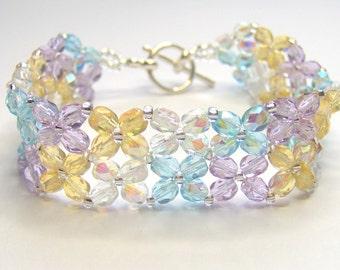 CLEARANCE Spring bracelet, criss cross bracelet, pastel bracelet, beaded bracelet, beadwork bracelet, beadwoven bracelet, floral bracelet,