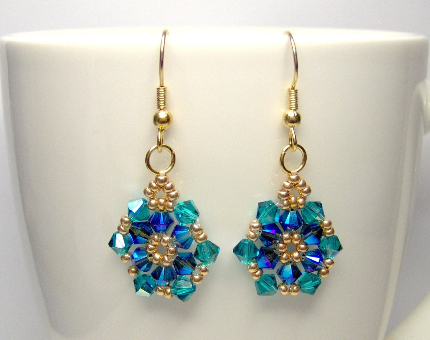 blue and green earrings swarovski earrings flower earrings. Black Bedroom Furniture Sets. Home Design Ideas