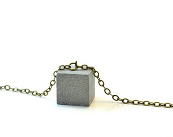 Concrete Cube Necklace / Concrete Jewelry / Minimal necklace / Cement Jewelry / Architectural necklace