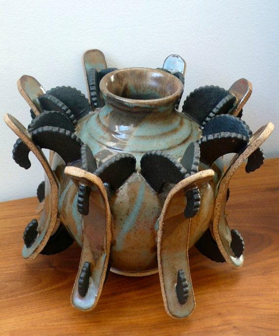 Handmade Medium Round Stockade Vase - Wheel Thrown and Hand Built - Sculpture - Functional - Art