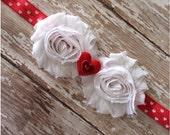 SALE Red and White Heart Headband, Heart Headband, Baby Headband, Toddler Headband, Girls Headband, Adult Headband, Valentines Day Hair Bow