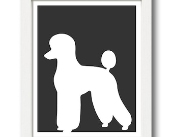 Poodle Print (version 2) - Poodle Silhouette, poodle art, dog portrait, modern dog home decor