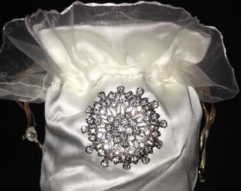 Satin Bridal / Evening Purse, Prom Purse, Wedding Money Bag, Bridal Party Bag, Holy Communion Bag