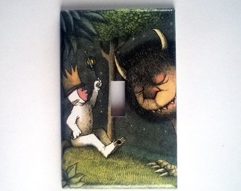 Light Switch or Outlet Plate, Single, Wild Things, Childrens Room or Baby Nursery