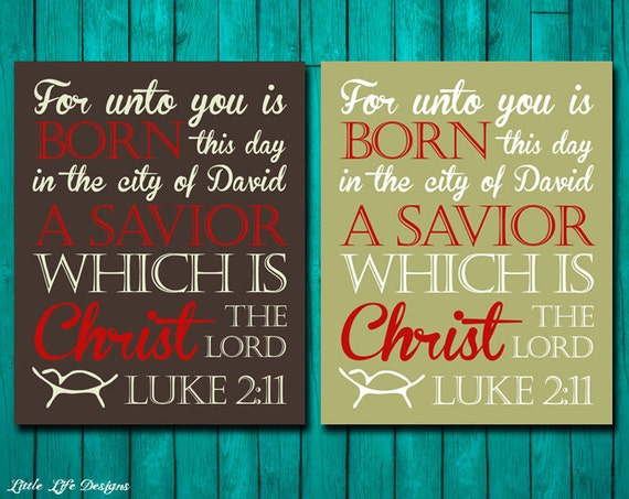 For unto you is born this day a Savior Christ by LittleLifeDesigns