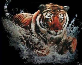 Tiger Splash  3D T SHIRT, Sweatshirt, Quilt Fabric Block  Item # 292c