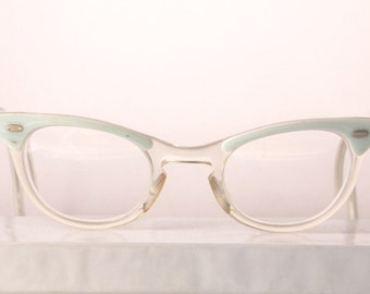1950s turquoise & clear, horn rim,  cat eye glasses, sm size, The Sea Glass Inn