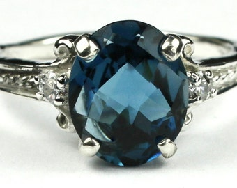 London Blue Topaz, 925 Sterling Silver Ring, SR136