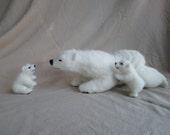 Needle Felted Polar Bear family,  Pose-able felted animals