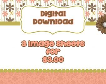 DIGITAL DOWNLOAD Bottle Cap Image Sheets- Pick 3