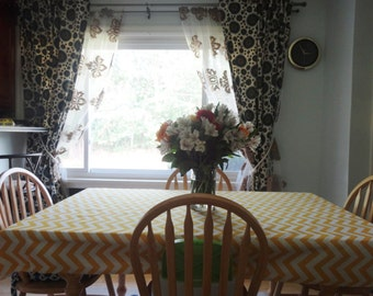 """Size 54 x 54"""" Zigzag / Chevron TableCloth Colors: Yellow, Chartreuse, Girly Blue, Coral, Pink, Red, Gray, Navy Blue, Black"""