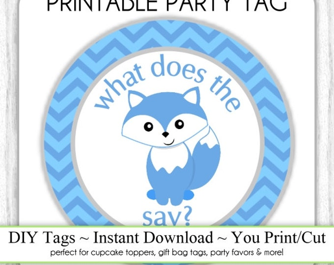 Instant Download - Chevron and Fox Printable Party Tag, Cupcake Topper, DIY, You Print, You Cut
