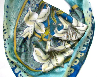 Hand painted Silk scarf  'Lilies''.  Luxury gift for her. Made to order.