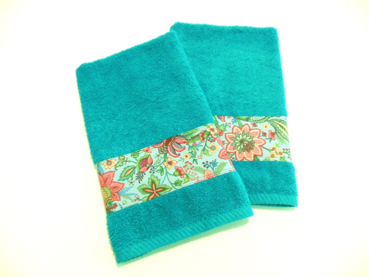 Teal hand towels kitchen or bath decorative towels set of 2 for Teal bath sets