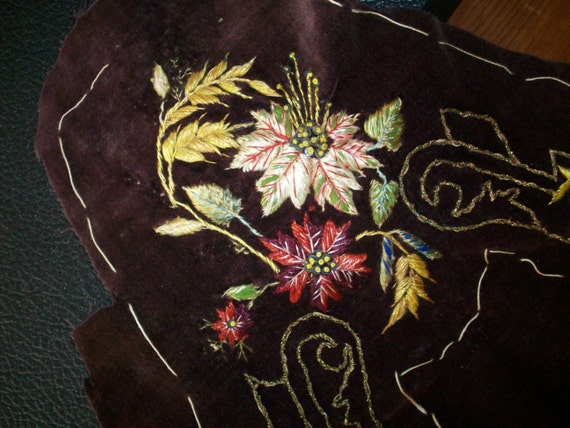 Antique embroidered velvet for slippers from