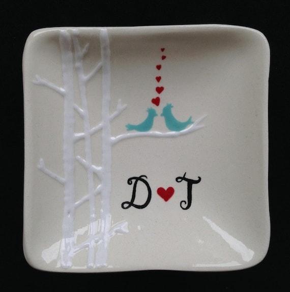 Personalised Wedding Gift Ring Dish : Wedding giftPersonalized Hand Painted Ceramic Ring Dish, ring ...