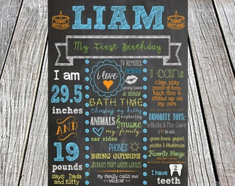 First Birthday Chalkboard Poster/Sign - digital - Baby/Child Growth/Milestones, Any colors, Boy, Girl, Growth, Statistics, Birth, Party