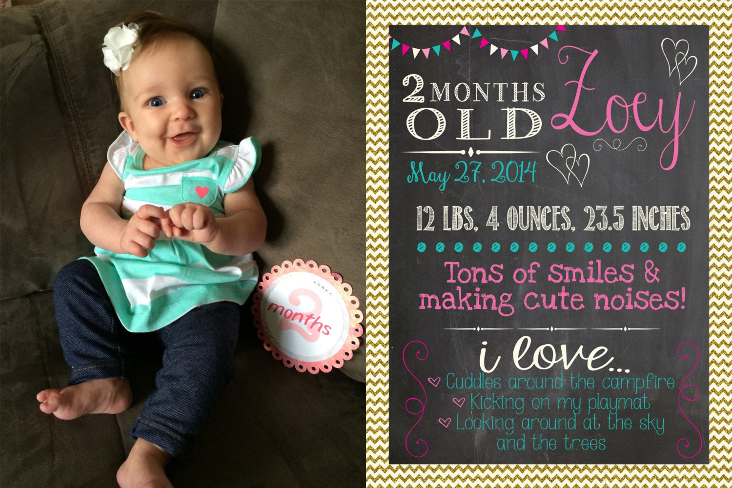 Monthly Baby Milestones Photo Prop Bundle For 12 Months