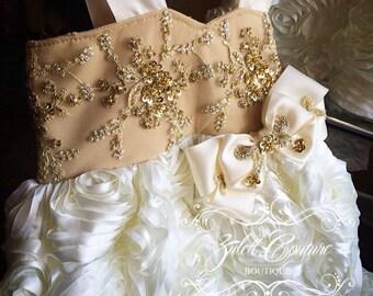 Flower Girl Dress - Lace Dress - Flower Girl Dress - Rosette Dress - Wedding Dress - Sweet Rose by Zulett Couture