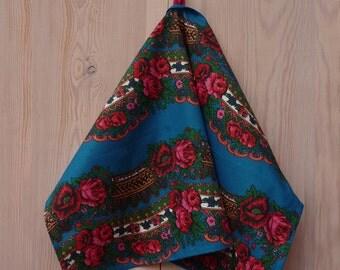 """Kitchen towel, 70 x 50 cm/ 28"""" x 19"""", Ukrainian/Russian scarf floral ornaments, cotton towel,  blue floral towel, rose towel"""