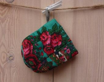 Oven Mitt, Ukrainian/Russian scarf floral ornaments,  Floral oven mitt, Potholder, Turquoise, floral pattern
