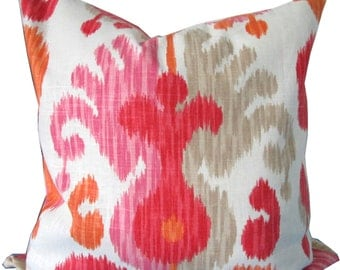 Pink And Orange Ikat Decorative Pillow Cover-Accent Pillow-Toss Pillow-Throw Pillow-Sofa Pillow-Double Sided-18x18-20x20-22x22