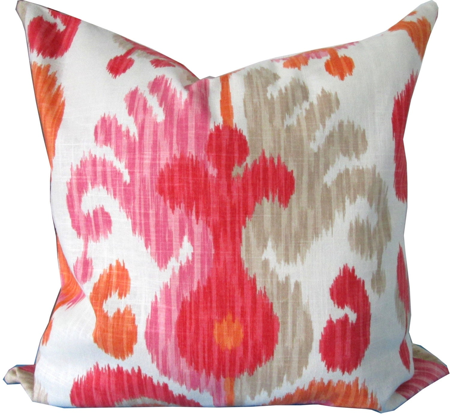 Pink And Orange Decorative Pillows : Pink And Orange Ikat Decorative Pillow Cover-Accent