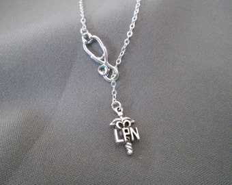 Choose your length -  LPN Nurse Necklace - Lariat Necklace