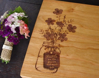 Personalized Bridal Shower Hostess Gift Custom Cutting Board Bridesmaids Present for Girlfriend. Sister Friends Cheese Board Forget Me Nots