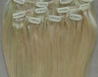 20 inches 7pcs Clip In Human Hair Extensions 613 Platinum Blonde