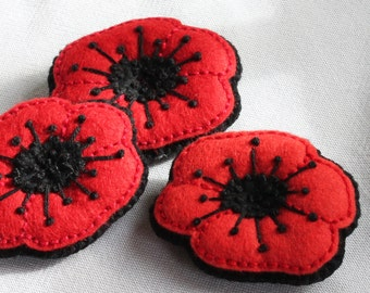 Poppy brooch for Remembrance Day - embroidered felt pin - red - Donation to Royal British Legion Poppy Appeal