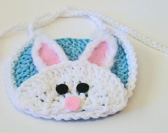 Adorable Light Blue and White Easter Bunny Rabbit Hand Crocheted Baby Bib Great Photo Prop Matching Hat Also Available
