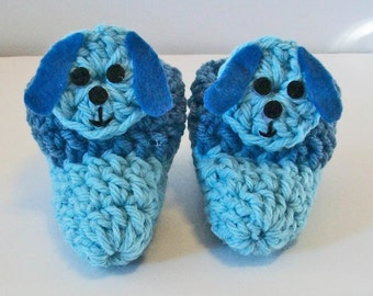 Adorable Hand Crocheted Baby Bootie Shoes Blue Puppy Dog Great Photo Prop Matching Hat & Bib Also Available