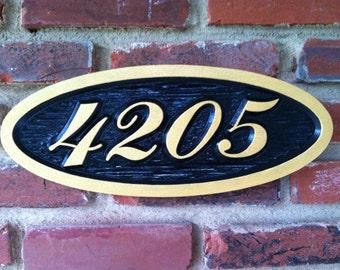 Custom Carved Oval House number / Street Address Sign - Custom Carved