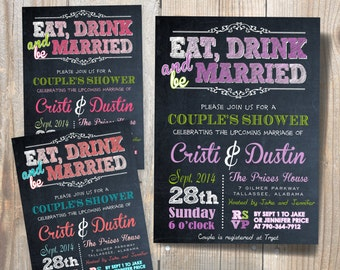 Eat Drink & Be Married Wedding Rehearsal Dinner Invitation / DIY / Chalkboard  Invitation