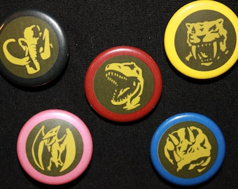 """Mighty Morphin Power Rangers - Power Coin 5 Set  (1.25"""" Buttons)"""