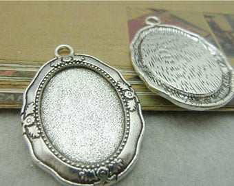 5 pcs 27x40mm Antique Silver Round Cameo Cabochon Base Settings inner 18x25mm