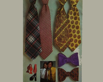 1970s Mens Neck Tie Pattern / Bow Tie Pattern / Simplicity 5234 Vintage Sewing Patterns / 70s Necktie Pattern