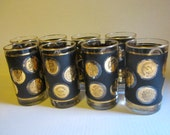Mid Century High Ball Glasses with Gold Medallions Set of Eight