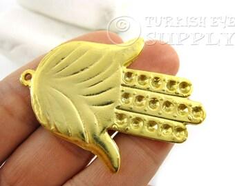 1 Pc Gold Hamsa, Hand of Fatima Pendant, 22K Gold Plated Turkish Jewelry, Good Luck Charms