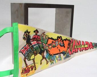 Canadian Mounties Pennant - Royal Canadian Mounted Police, Vintage, Felt, Souvenir, Flag, Horse (WTH-424)