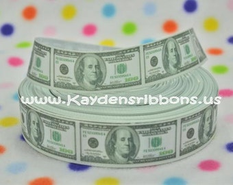 3 yards Money - 100 Dollar Bill - 1 inch - Printed Grosgrain Ribbon