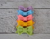 Pastel Set of Five Mini Wool Felt Bow Clips for Women, Girls and Babies